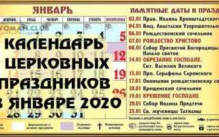 Церковный календарь на январь 2020г