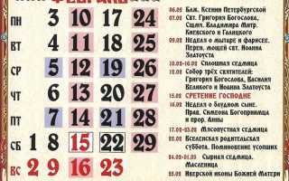 Православные праздники в феврале 2020 года
