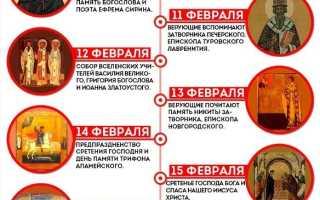 15 февраля какой праздник православный